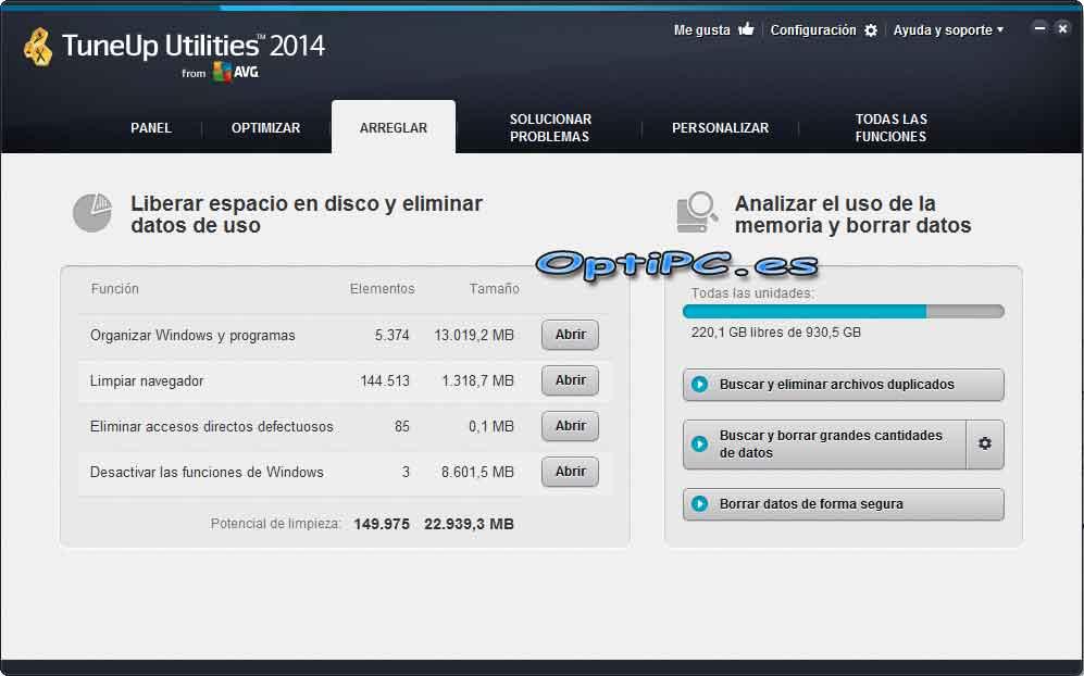 Interfaz de TuneUP Utilities 2014-Arreglar