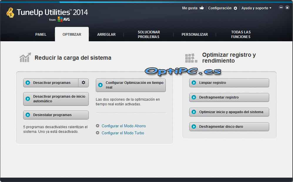 Interfaz de TuneUP Utilities 2014-Optimizar