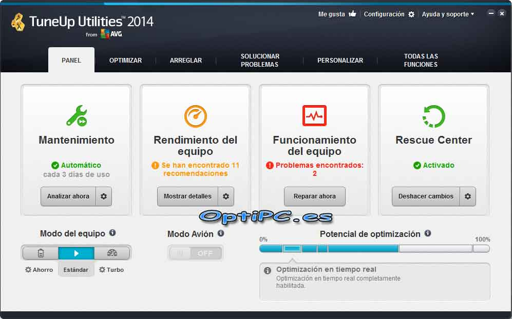 Interfaz de TuneUP Utilities 2014-Panel