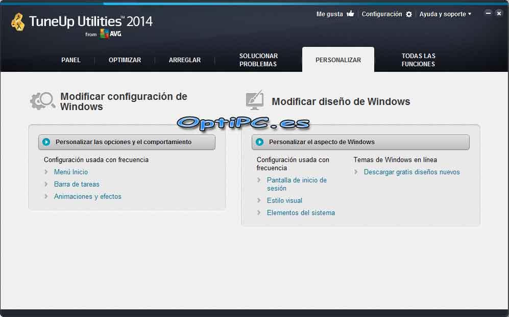 Interfaz de TuneUP Utilities 2014 - Personalizar