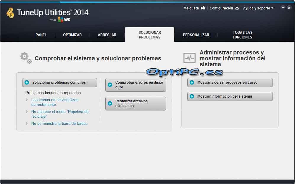 Interfaz de TuneUP Utilities 2014 - Solucionar Problemas