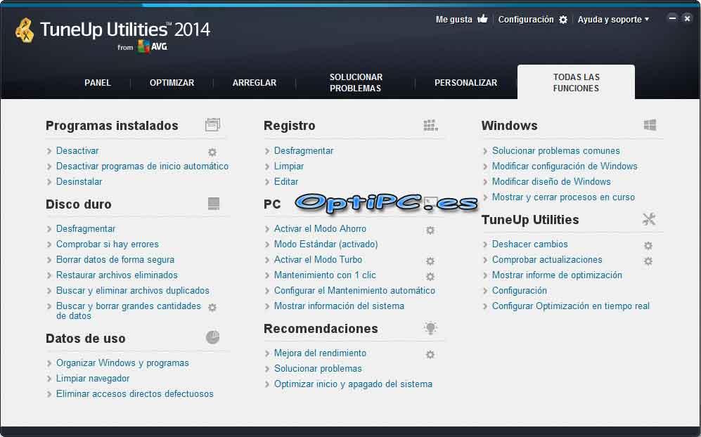 Interfaz de TuneUP Utilities 2014 - Todas las funciones